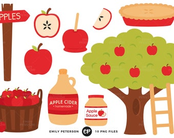 50% OFF SALE! Apple Orchard Clip Art, Apples Clipart, Apple Tree Clip Art - Commercial Use, Instant Download