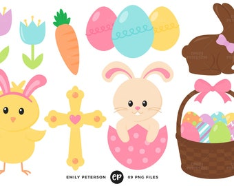 50% OFF SALE! Easter Clip Art, Easter Bunny Clipart, Easter Eggs Clip Art - Commercial Use, Instant Download