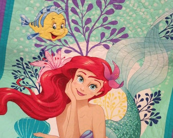 Little Mermaid quilt, Little Mermaid blanket, Ariel Quilt, Ariel Blanket, lap quilt, wall hanging, girl gift, handmade, character quilt