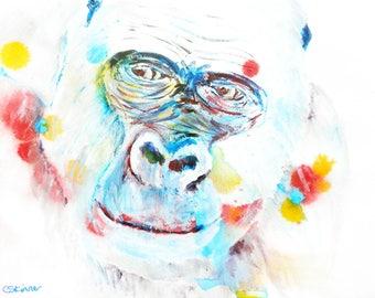 Blue gorilla art print - wildlife art print gift - animal wall art - African animal art - ape print - African wildlife decor - blue ape gift
