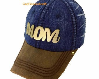 MOM Cap, Metal Plate, Gold or Silver, Navy Blue Denim Cap, Distressed Cap, Customized Cap, Cap Generation, Mother Cap, Headwear, Mom hat