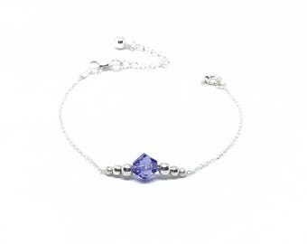 Bracelet in Silver 925/1000 and a Swarovski Tanzanite.