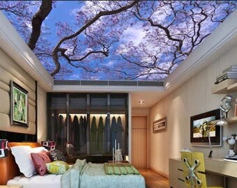 Ceiling tree wallpaper, flowering trees sky ceiling, sky ceiling mural, ceiling wall decal, pines wall mural, sky ceiling wallpaper