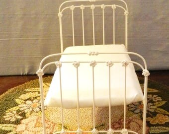 """NEW!! Our """"CHIC and CHEAP"""" line is now live! Artisan Made Dollhouse Miniature Wrought Iron Look Bed """"Rowan"""" 1:12 Scale Twin and Full"""