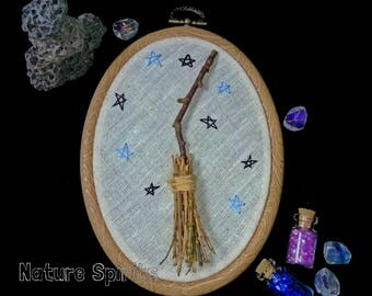 Shaman Gothic Pagan Witch Broomstick in the Frame with the Stars , Boho  Home Decor  Forest White Black Magic Dried Real Wood the Craft