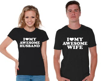 I Love My Awesome Husband Shirt I Love My Awesome Wife T Shirt for Couples Valentines Day Cute Anniversary Gifts Husband and Wife T Shirts