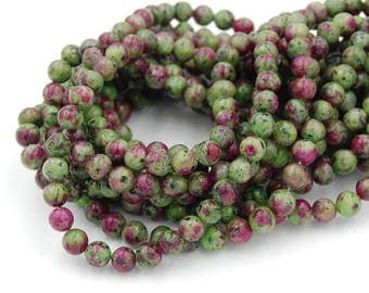 """Two 15.5"""" strands Ruby in Zoisite Beads 6mm"""