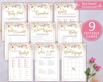 Baby Shower Games Set Editable Kit Printable Floral Pink Gold Baby Shower Game Package Guess the Baby Food, Baby Bingo, Word Scramble, Who