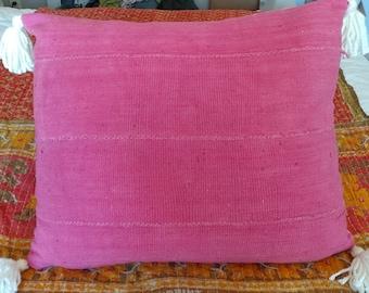 Pink Mudcloth with Cream Tassels