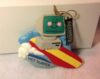Vintage Old School Apple computer Surfing Christmas hanging ornament