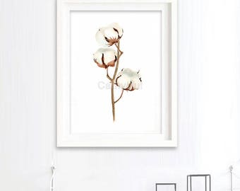 Print of Cotton Boll  Watercolor Painting, Flowers Abstract Brown Beige, Wall Art Giclee Print, botanical painting