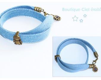 Cord bracelet double blue jeans cotton Angel