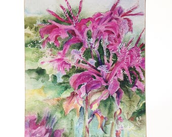 Pink Flower, Floral, Watercolor art print mounted on wood panel — ready to hang — Galena, Illinois Pink Flower