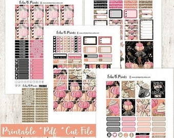 Pumpkinfest DARK Printable Planner Stickers/Weekly Kit/For Use with Erin Condren/Cutfile Fall September Pumpkin Glitter Leaves Coffee Pie