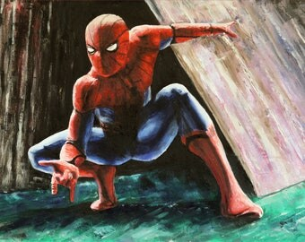 Spiderman Webslinging - A3 One off Print of oil painting