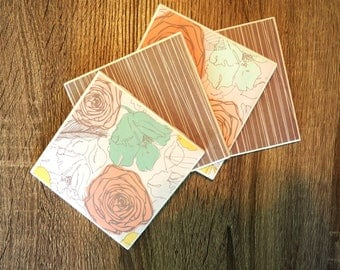 Floral Coasters; Set of 4 Coasters; Gray & Floral Coasters