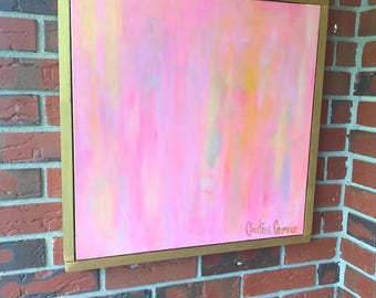 """Pink Abstract Painting 20""""x20"""""""