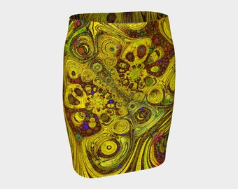 Sunflower Circles Fitted Skirt