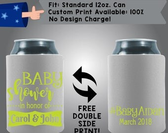 Baby Shower in Honor of NAMES #BabyName Date Gender Reveal Baby Shower Collapsible Fabric Baby Shower Can Cooler Double Side Print (BS134)