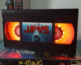 Retro VHS Jaws Night Light Table Lamp, Horror Movie . Order any movie! Great personal gift. Man Cave. Office.