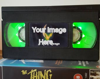 Retro VHS Personalised Customised Night Light Table Desk Lamp. Order any film, movie, series! Great personal gift!