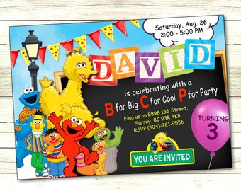 Elmo birthday invitation, Sesame street invitation, Elmo invitation, Elmo Invite, Sesame Street printable, Sesame Street invite, Big Bird