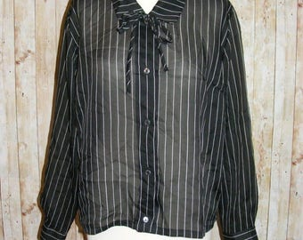 Size 16 vintage 60s tie neck long sleeve blouse sheer black pinstripe (HM84)