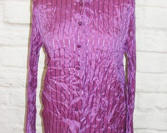 Size 8 vintage 80s epaulette long sleeve high neck blouse purple stripes (HH06)