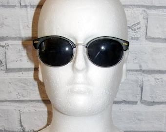 Vintage 80s deadstock matt black/pewter clubmaster sunglasses grey lenses (SG54)