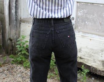 Vintage Tommy Hilfiger Jeans High Waist Straight Leg Black 90's Denim Sz 27