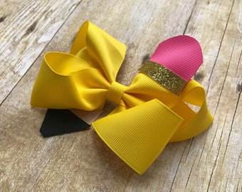 Pencil bow, back to school bow