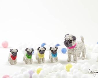 Tiny pug family, Tiny crochet pugs, Amigurumi dog, Miniature Crochet Animals