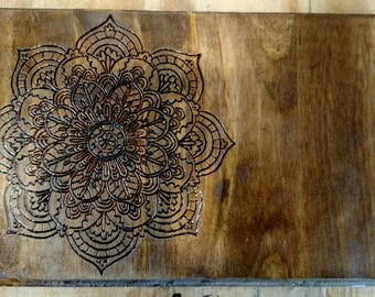 Woodburned Mandala- Free US Shipping