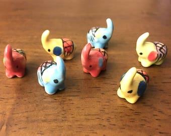 2 PCS Miniature Ceramic Elephant Figurine Statue Decorative Collectibles , miniature ceramic animal, tiny animal, small animal