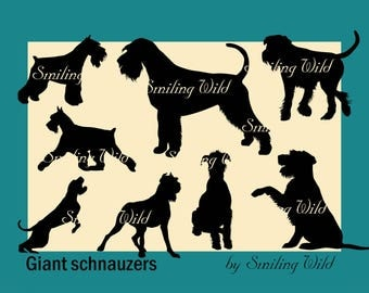 giant schnauzer svg silhouette clipart cutout file printable dog giving paw schnauzer vector graphic art commercial use dog Riezenschnauzer
