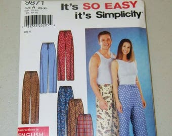 Simplicity Unisex Pajama Pants PJS Pattern 9871 13319
