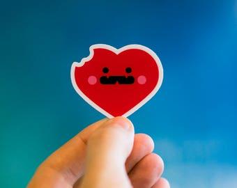 Love Bites Sticker, Heart Decals, Cool Valentines Stickers, Valentines decals, Valentines Stickers, Heart Stickers, Cute Sticker Laptop