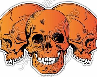 Orange Skull Skulls Devil Demon Evil Hell Car Bumper Vinyl Sticker Decal
