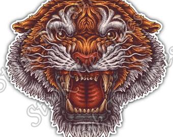 Tiger Roar Face Cat Wild Life Animal Car Bumper Vinyl Sticker Decal
