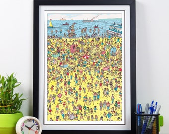 Where's Wally/Waldo retro print. Quirky wall art in the classic vintage illustration style. Fun picture with a great look for any home!