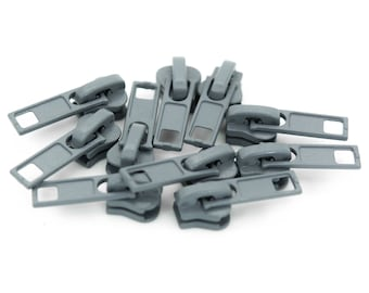 10 zipper for profile zippers, 5mm, free choice of color (color: gray)