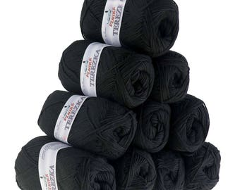 10 x 50 g knitting wool TEREZKA 100% cotton, #106 black
