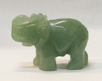 Lucky Elephant with Trunk Up--Aventurine stone