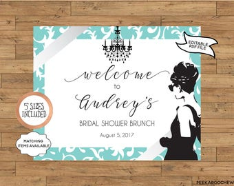 Breakfast at Tiffany's Party WELCOME SIGN Printable Editable Bridal Baby Shower Engagement Birthday Brunch & Bubbly Audrey Hepburn PCBTPS