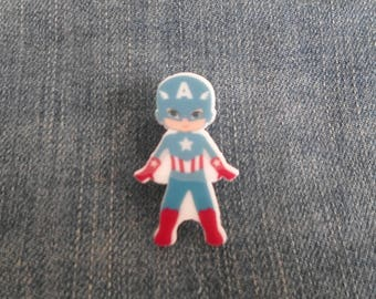 Handmade Cartoon Captain America Marvel Boy Comic Book Super Hero Pin Badge