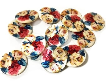 4pcs, 30mm,  Floral Pattern Round Shell Loose Bead