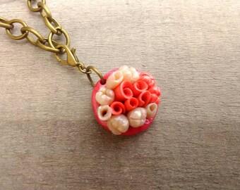 Bronze bracelet, floral pendant, hand-sculpted, nature, natural, pink, ivory, petals, flowers, love heart clasp, bronze chain, Bridesmaid