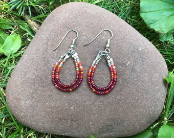Red Ombre Double Hoop Earrings