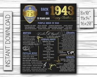 75th Birthday Decor, 1943 Birthday, 75 Years Ago, 75th Birthday Sign, Digital Chalkboard, Chalkboard Printable, Birthday Decoration, DIGITAL