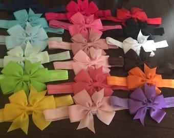 "4"" Bow Headbands, Bow Headband Starter Set, Infant Bow Headband, Bulk Bows, Kids Headband, Baby Girl Gift, Newborn Headband, Baby Photo Prop"